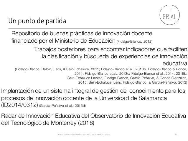 Un punto de partida Un mapa sobre las tendencias en Innovación Educativa 16 Implantación de un sistema integral de gestión...