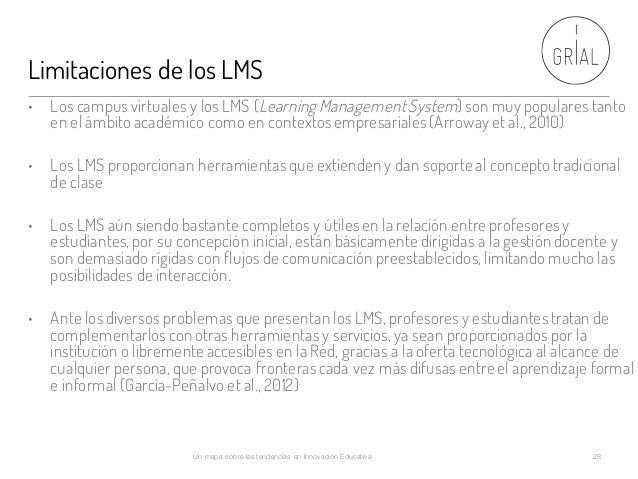 Limitaciones de los LMS Un mapa sobre las tendencias en Innovación Educativa 28 • Los campus virtuales y los LMS (Learning...