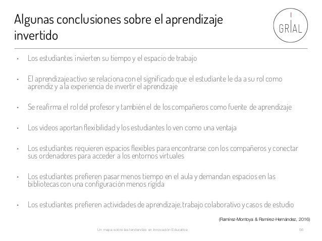 Algunas conclusiones sobre el aprendizaje invertido Un mapa sobre las tendencias en Innovación Educativa 56 • Los estudian...