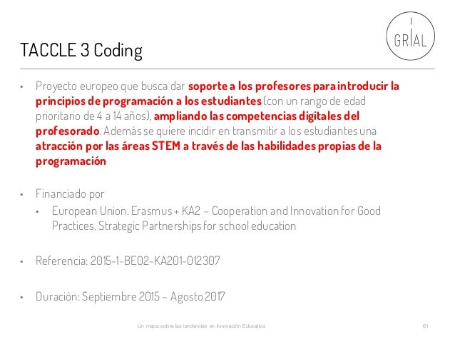 TACCLE 3 Coding Un mapa sobre las tendencias en Innovación Educativa 61 • Proyecto europeo que busca dar soporte a los pro...