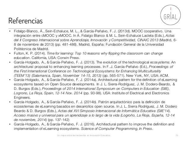 Referencias Un mapa sobre las tendencias en Innovación Educativa 75 • Fidalgo-Blanco, Á., Sein-Echaluce, M. L., & García-P...