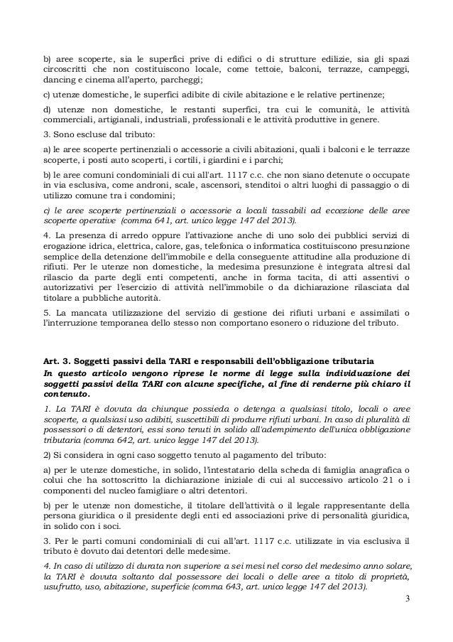 Schema di regolamento tari istruzioni per l 39 uso for Tari utenze non domestiche