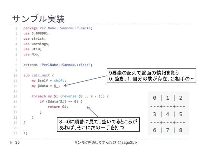 サンプル実装 35 9要素の配列で盤面の情報を貰う 0: 空き、1: 自分の駒が存在、2:相手の~ 8→0に順番に見て、空いてるところが あれば、そこに次の一手を打つ サンモクを通して学んだ話 @sago35tk35