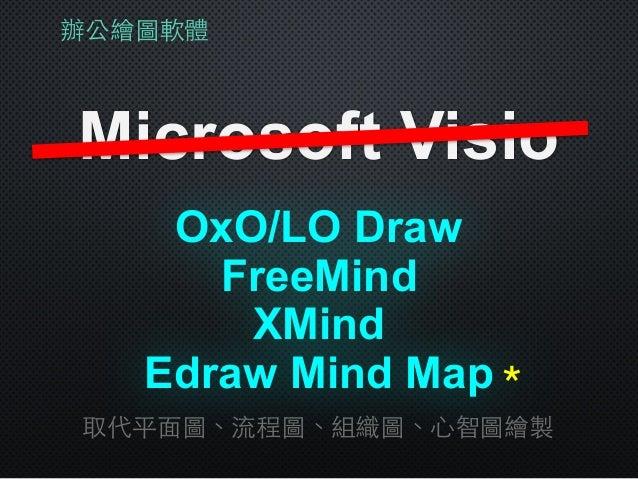 辦公繪圖軟體 Microsoft Visio XMind 取代平⾯面圖、流程圖、組織圖、⼼心智圖繪製 OxO/LO Draw FreeMind Edraw Mind Map*