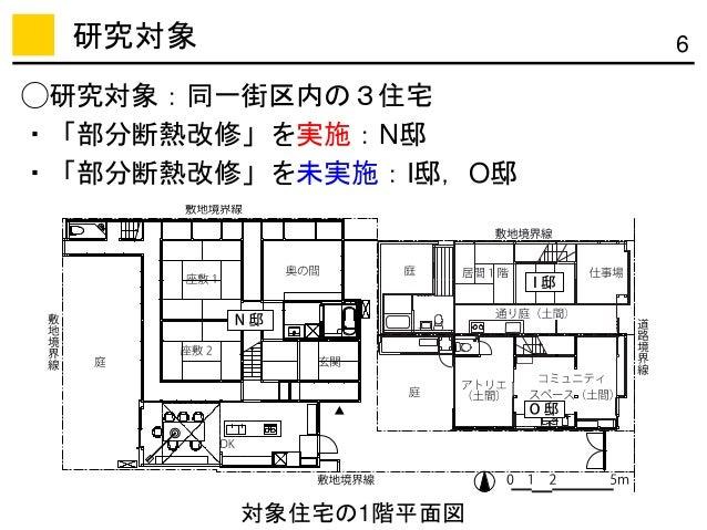 6研究対象 対象住宅の1階平面図 ◯研究対象:同一街区内の3住宅 ・「部分断熱改修」を実施:N邸 ・「部分断熱改修」を未実施:I邸,O邸