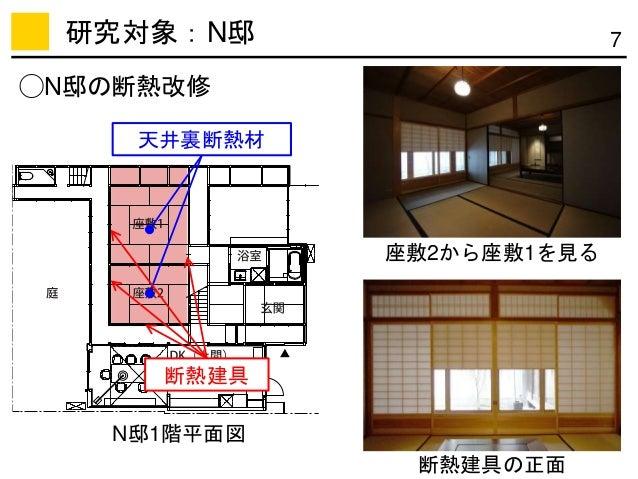 7研究対象:N邸 天井裏断熱材 断熱建具 ◯N邸の断熱改修 N邸1階平面図 座敷2から座敷1を見る 断熱建具の正面