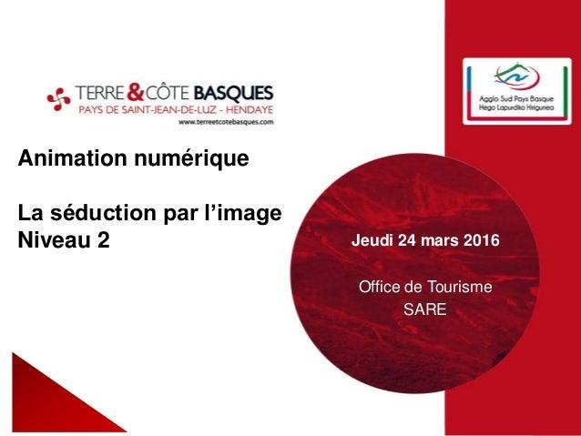 Animation numérique La séduction par l'image Niveau 2 Jeudi 24 mars 2016 Office de Tourisme SARE