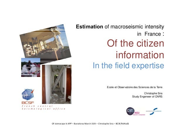 Of sismocope ti APP – Barcelona March 31th – Christophe Sira – BCSF/RéNaSS Ecole et Observatoire des Sciences de la Terre ...