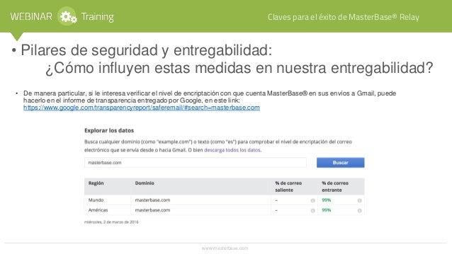 Webinar Training: Optimice sus envíos transaccionales, Claves para el éxito de MasterBase® Relay / Marzo 2016