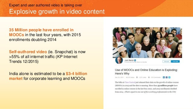 35 Million people have enrolled in MOOCs in the last four years, with 2015 enrollments doubling 2014 Self-authored video (...
