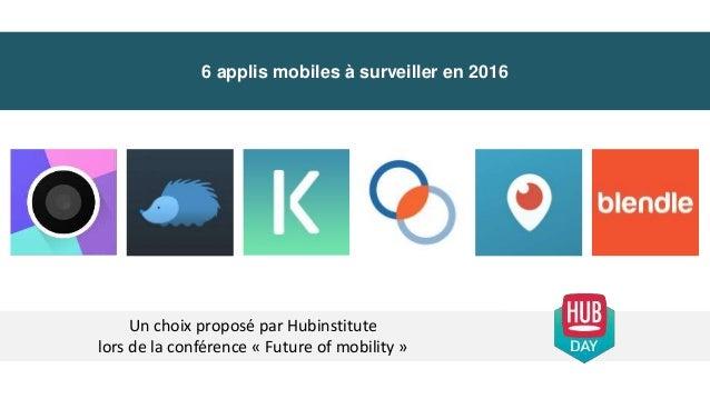 6 applis mobiles à surveiller en 2016 Un choix proposé par Hubinstitute lors de la conférence « Future of mobility »