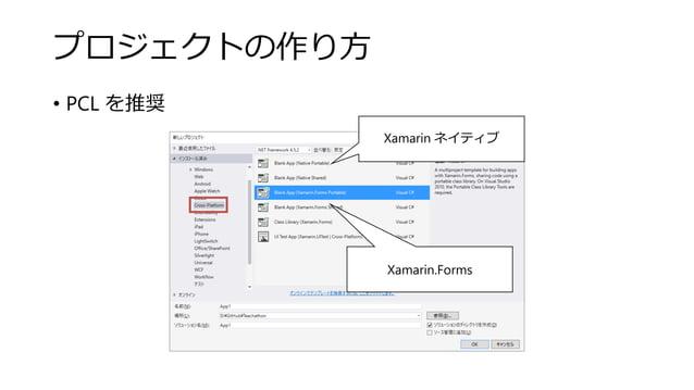 プロジェクトの作り方 • PCL を推奨 Xamarin ネイティブ Xamarin.Forms