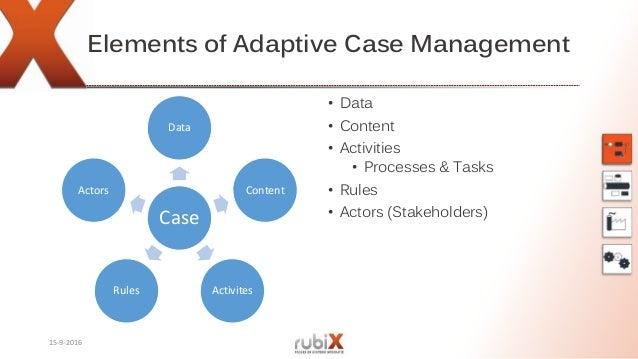 Elements of Adaptive Case Management Case Data Content ActivitesRules Actors • Data • Content • Activities • Processes & T...