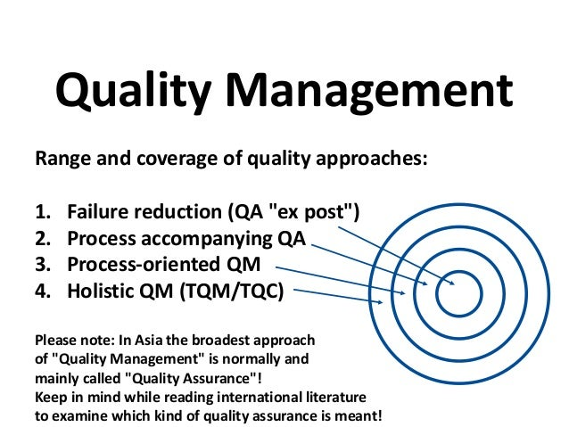 discuss a range of approaches to quality management