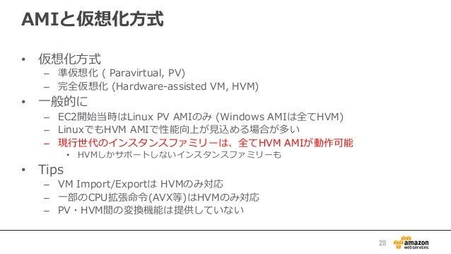 AMIと仮想化⽅方式 • 仮想化⽅方式 – 準仮想化 ( Paravirtual, PV) – 完全仮想化 (Hardware-‐‑‒assisted VM, HVM) • ⼀一般的に – EC2開始当時はLinux P...