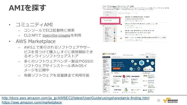 AMIを探す • コミュニティAMI – コンソールでEC2起動時に検索索 – CLI/APIで describe-imagesを利利⽤用 • AWS Marketplace – AWS上で実⾏行行されるソフトウェアやサー ビスを...