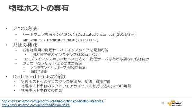 物理理ホストの専有 • 2つの⽅方法 • ハードウェア専有インスタンス (Dedicated Instance) (2011/3〜~) • Amazon EC2 Dedicated Host (2015/11〜~) • 共...