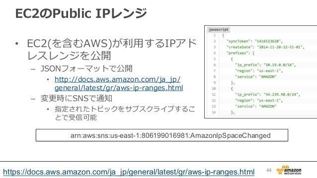 EC2のPublic IPレンジ • EC2(を含むAWS)が利利⽤用するIPアド レスレンジを公開 – JSONフォーマットで公開 • http://docs.aws.amazon.com/ja_̲jp/ general/latest...