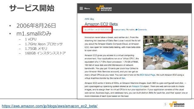 サービス開始 • 2006年年8⽉月26⽇日 • m1.smallのみ – 1 vCPU – 1.7GHz Xeon プロセッサ – 1.75GB メモリ – 160GB インスタンスストア 5 https://aws....