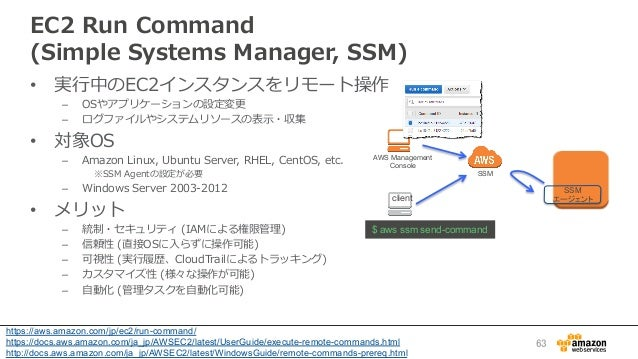 EC2 Run Command  (Simple Systems Manager, SSM) • 実⾏行行中のEC2インスタンスをリモート操作 – OSやアプリケーションの設定変更更 – ログファイルやシステムリソースの表⽰示...