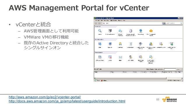 AWS Management Portal for vCenter • vCenterと統合  – AWS管理理画⾯面として利利⽤用可能 – VMWare VMの移⾏行行機能 – 既存のActive Directoryと統...
