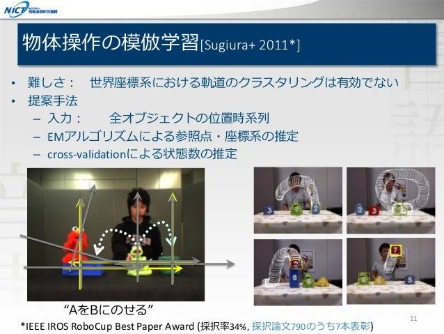 物体操作の模倣学習[Sugiura+ 2011*] • 難しさ: 世界座標系における軌道のクラスタリングは有効でない • 提案手法 – 入力: 全オブジェクトの位置時系列 – EMアルゴリズムによる参照点・座標系の推定 – cross-vali...