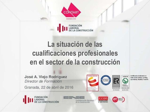 La situación de las cualificaciones profesionales en el sector de la construcción José A. Viejo Rodríguez Director de Form...