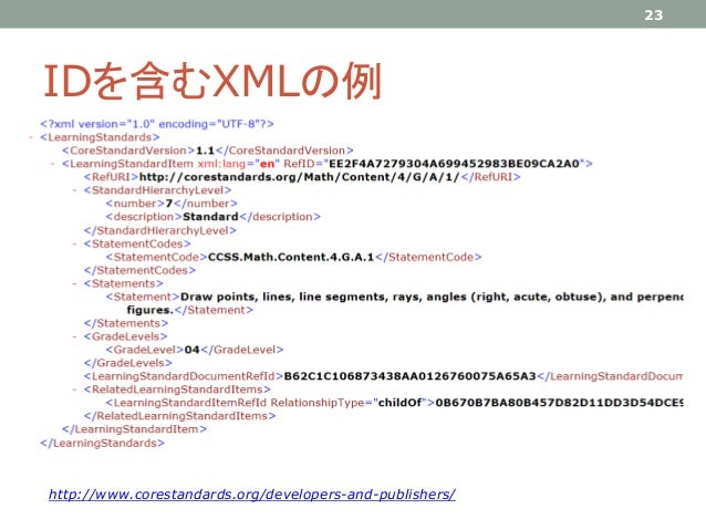 IDを含むXMLの例 23 http://www.corestandards.org/developers-and-publishers/