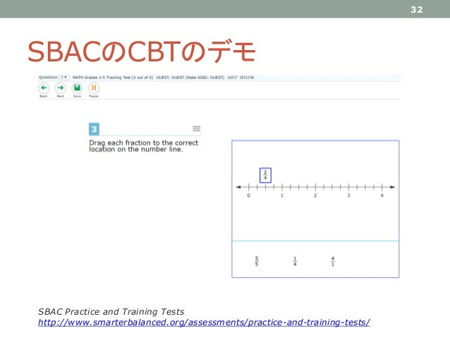SBACのCBTのデモ 32 SBAC Practice and Training Tests http://www.smarterbalanced.org/assessments/practice-and-training-tests/