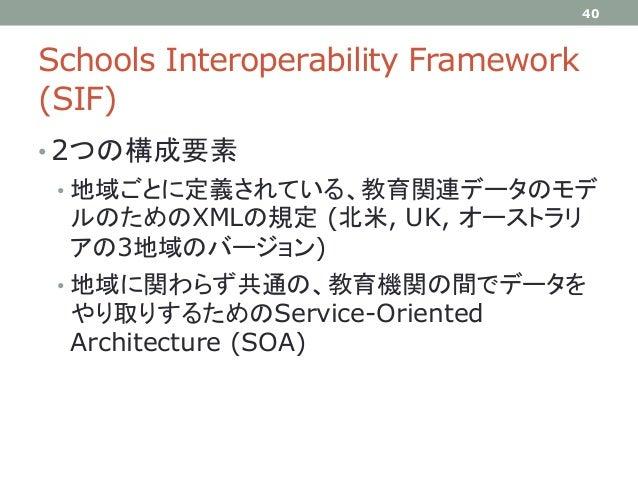 Schools Interoperability Framework (SIF) • 2つの構成要素 • 地域ごとに定義されている、教育関連データのモデ ルのためのXMLの規定 (北米, UK, オーストラリ アの3地域のバージョン) • 地域...