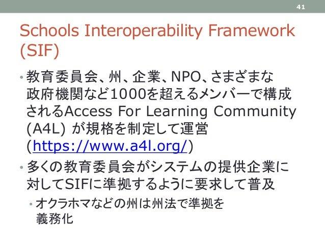 Schools Interoperability Framework (SIF) • 教育委員会、州、企業、NPO、さまざまな 政府機関など1000を超えるメンバーで構成 されるAccess For Learning Community (A4...