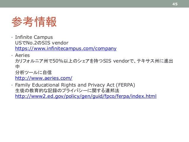 参考情報 • Infinite Campus USでNo.2のSIS vendor https://www.infinitecampus.com/company • Aeries カリフォルニア州で50%以上のシェアを持つSIS vendorで...