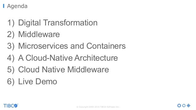 Microservices, Containers, Docker and a Cloud-Native Architecture in the Middleware World  Slide 3