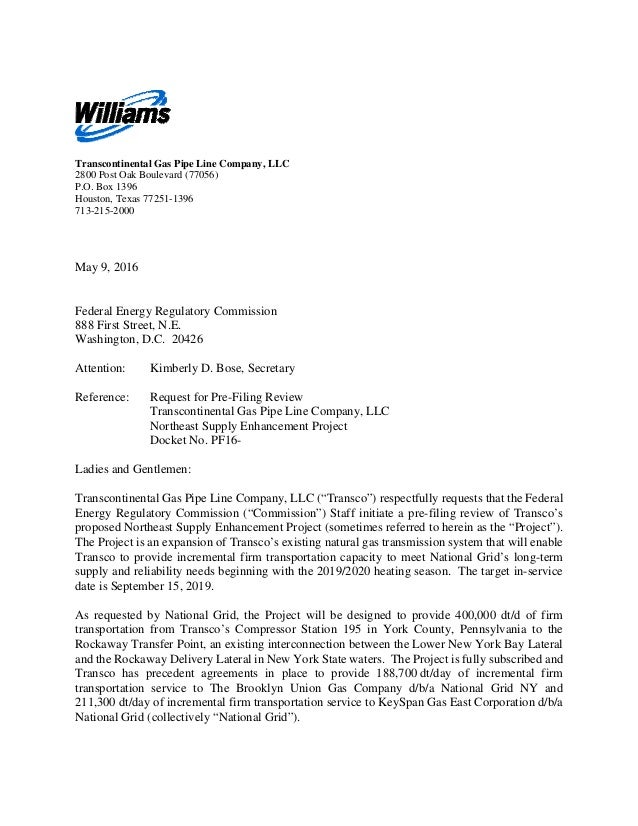 Williams Request for Pre-Filing Review on Transco Northeast