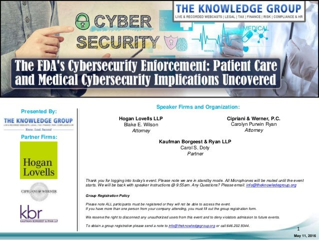The FDA's Cybersecurity Enforcement: Patient Care and Medical Cyberse…