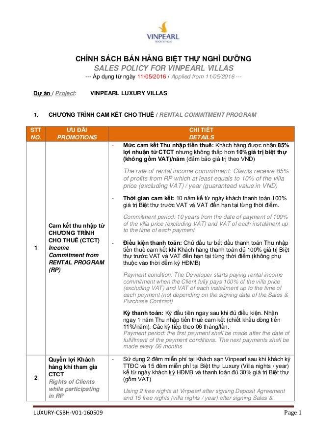 LUXURY-CSBH-V01-160509 Page 1 CHÍNH SÁCH BÁN HÀNG BIỆT THỰ NGHỈ ...