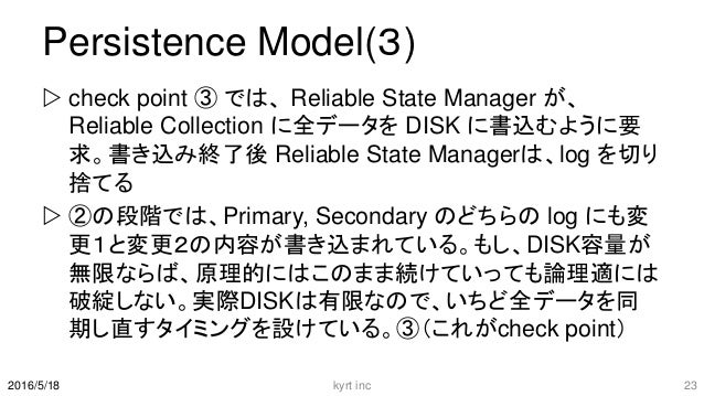 Persistence Model(3)  check point ③ では、 Reliable State Manager が、 Reliable Collection に全データを DISK に書込むように要 求。書き込み終了後 Reli...