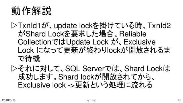 動作解説 TxnId1が、update lockを掛けている時、TxnId2 がShard Lockを要求した場合、Reliable CollectionではUpdate Lock が、Exclusive Lock になって更新が終わりloc...