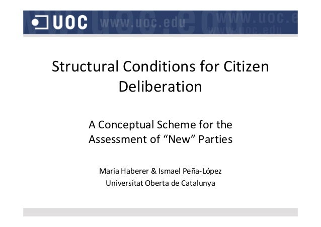 "StructuralConditionsforCitizen Deliberation AConceptualSchemeforthe Assessmentof""New""Parties MariaHaberer&I..."