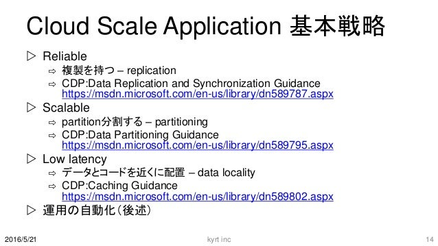 Cloud Scale Application 基本戦略  Reliable ⇨ 複製を持つ – replication ⇨ CDP:Data Replication and Synchronization Guidance https://...