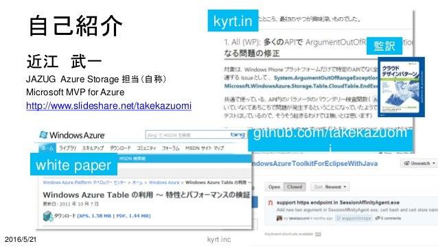自己紹介 近江 武一 JAZUG Azure Storage 担当(自称) Microsoft MVP for Azure http://www.slideshare.net/takekazuomi kyrt inc 2 kyrt.in git...