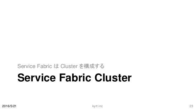 Service Fabric Cluster Service Fabric は Cluster を構成する 2016/5/21 kyrt inc 23