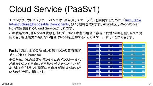 Cloud Service (PaaSv1) モダンなクラウドアプリケーションでは、高可用、スケーラブルを実現するために、「Immutable InfrastructureとDisposable Components」という戦略を取ります。Az...
