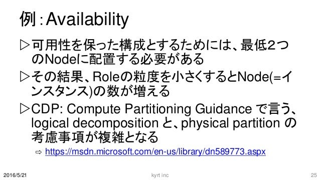 例:Availability 可用性を保った構成とするためには、最低2つ のNodeに配置する必要がある その結果、Roleの粒度を小さくするとNode(=イ ンスタンス)の数が増える CDP: Compute Partitioning ...
