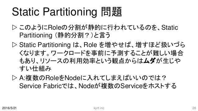 Static Partitioning 問題  このようにRoleの分割が静的に行われているのを、Static Partitioning (静的分割?)と言う  Static Partitioning は、Role を増やせば、増すほど扱い...