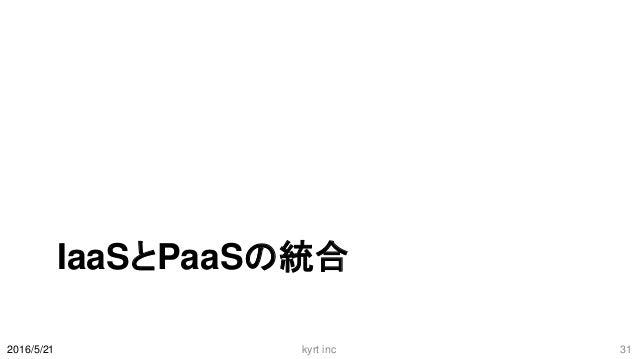 IaaSとPaaSの統合 2016/5/21 kyrt inc 31