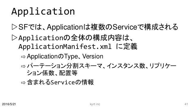 Application SFでは、Applicationは複数のServiceで構成される Applicationの全体の構成内容は、 ApplicationManifest.xml に定義 ⇨ ApplicationのType、Versi...