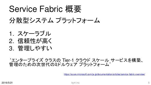 Service Fabric 概要 分散型システム プラットフォーム 1. スケーラブル 2. 信頼性が高く 3. 管理しやすい 'エンタープライズ クラスの Tier-1 クラウド スケール サービスを構築、 管理のための次世代のミドルウェア...