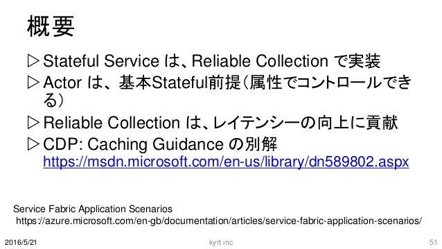 概要 Stateful Service は、Reliable Collection で実装 Actor は、 基本Stateful前提(属性でコントロールでき る) Reliable Collection は、レイテンシーの向上に貢献 ...