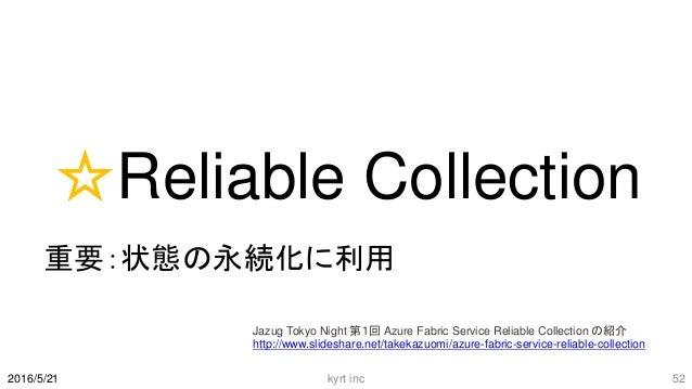 ☆Reliable Collection 重要:状態の永続化に利用 kyrt inc 522016/5/21 Jazug Tokyo Night 第1回 Azure Fabric Service Reliable Collection の紹介 ...